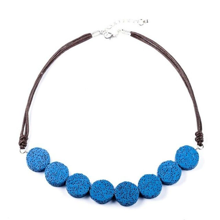 Blue Tablet Beads Lava Stone Essential Oils Necklace