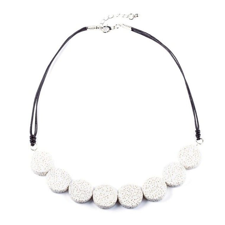 White Tablet Beads Lava Stone Essential Oils Necklace