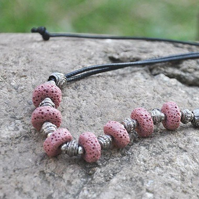 Red 7 Bead Lava Stone Essential Oils Necklace