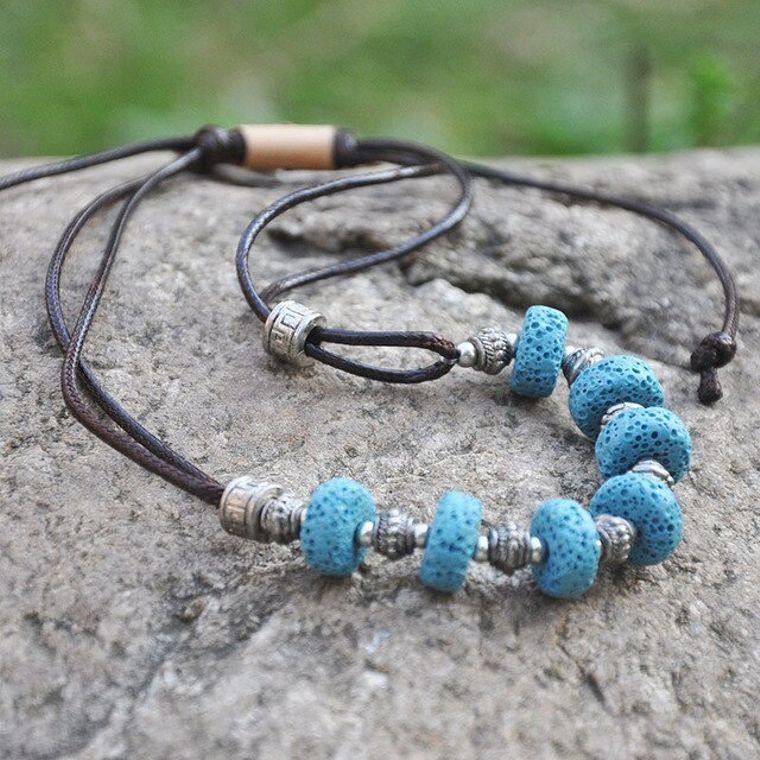 Blue 7 Bead Lava Stone Essential Oils Necklace
