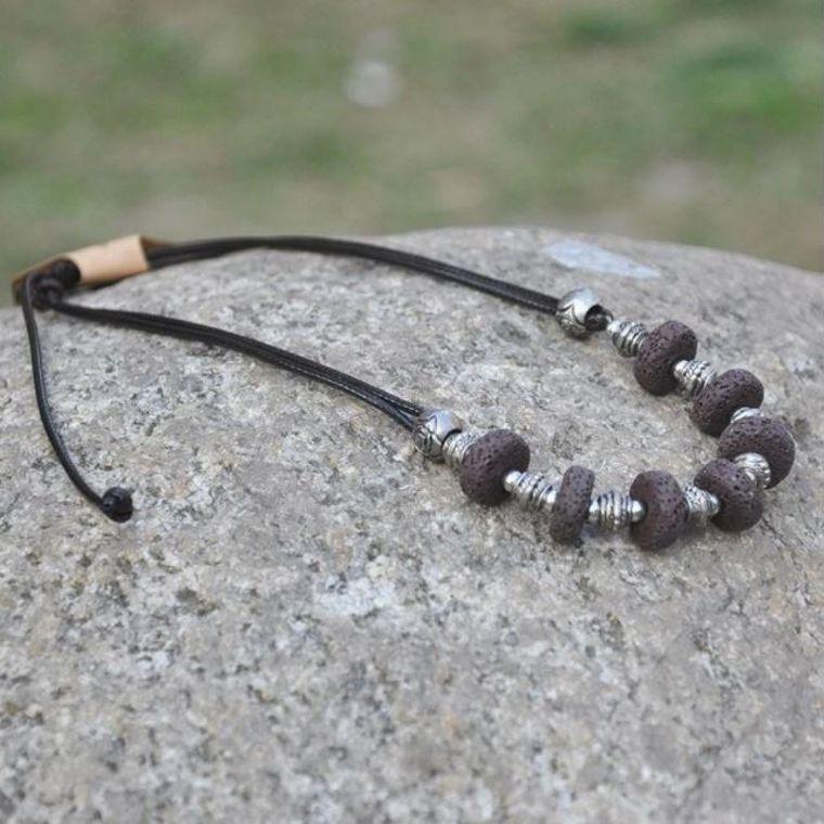Black 7 Bead Lava Stone Essential Oils Necklace