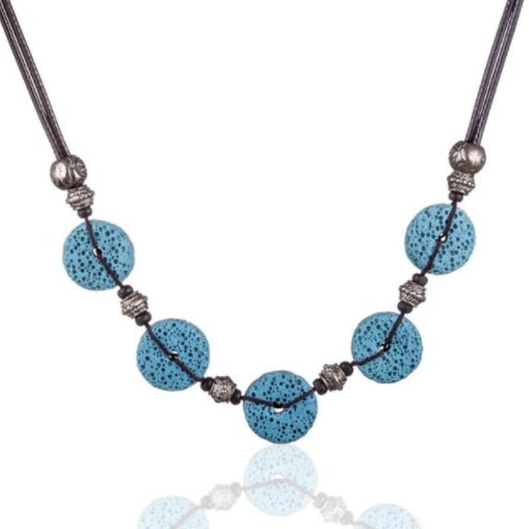 Blue 5 Bead Lava Stone Essential Oils Necklace