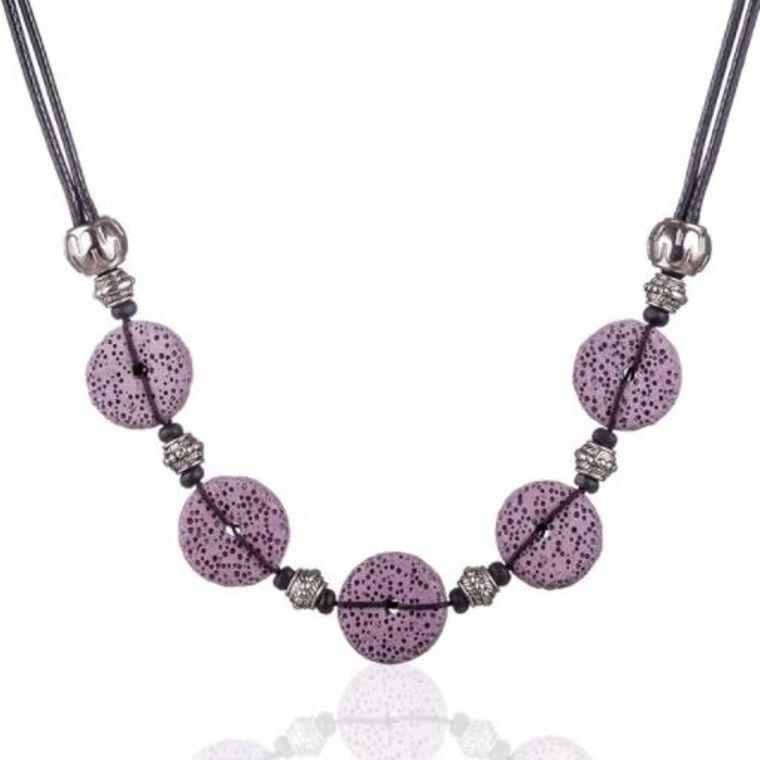 Purple 5 Bead Lava Stone Essential Oils Necklace