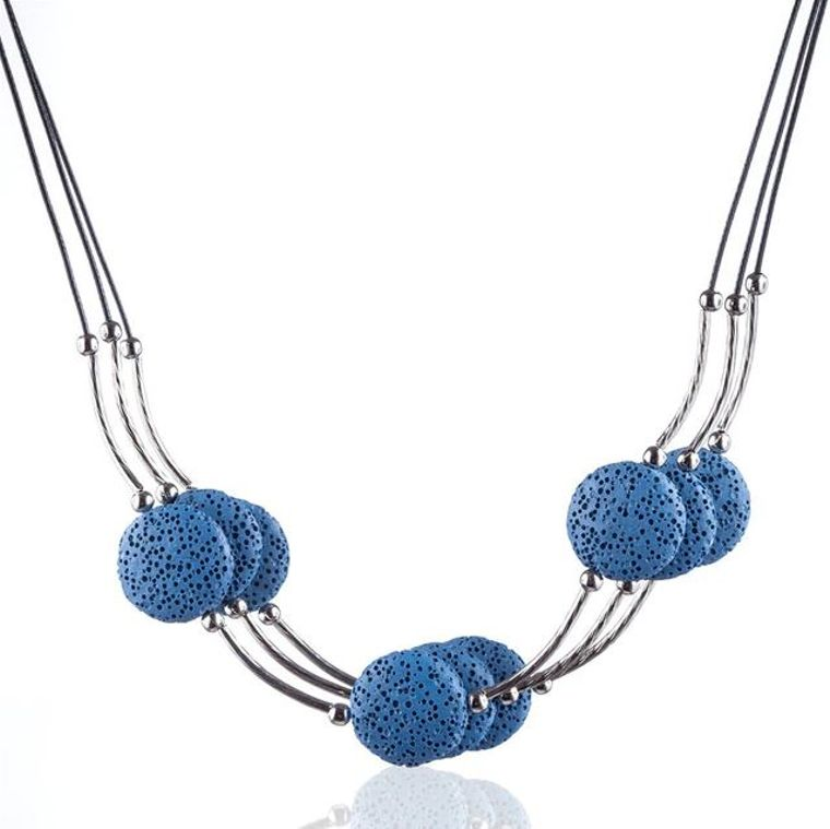 Blue 6 Lava Stone Essential Oils Necklace