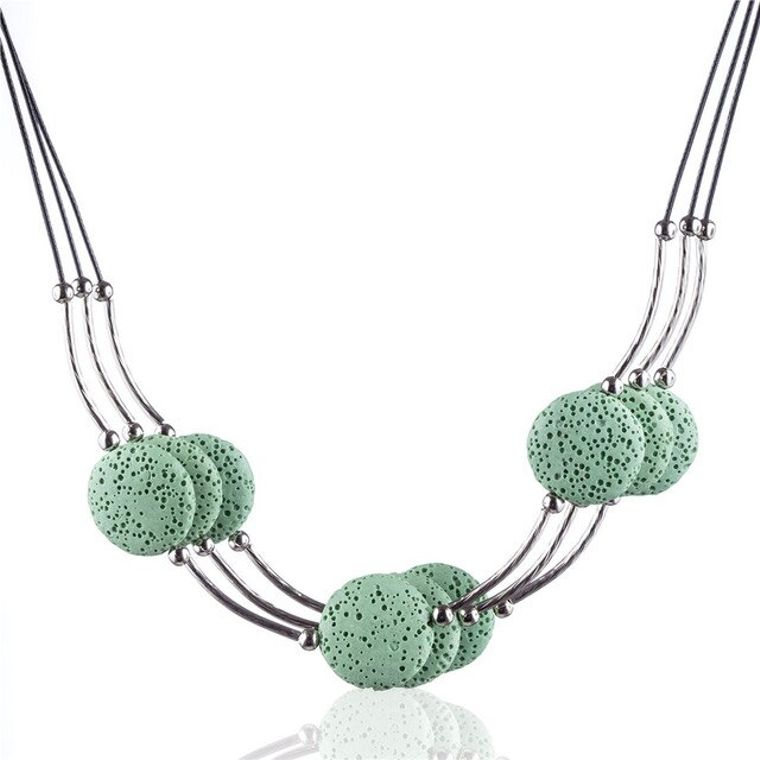 Light Green 6 Lava Stone Essential Oils Necklace