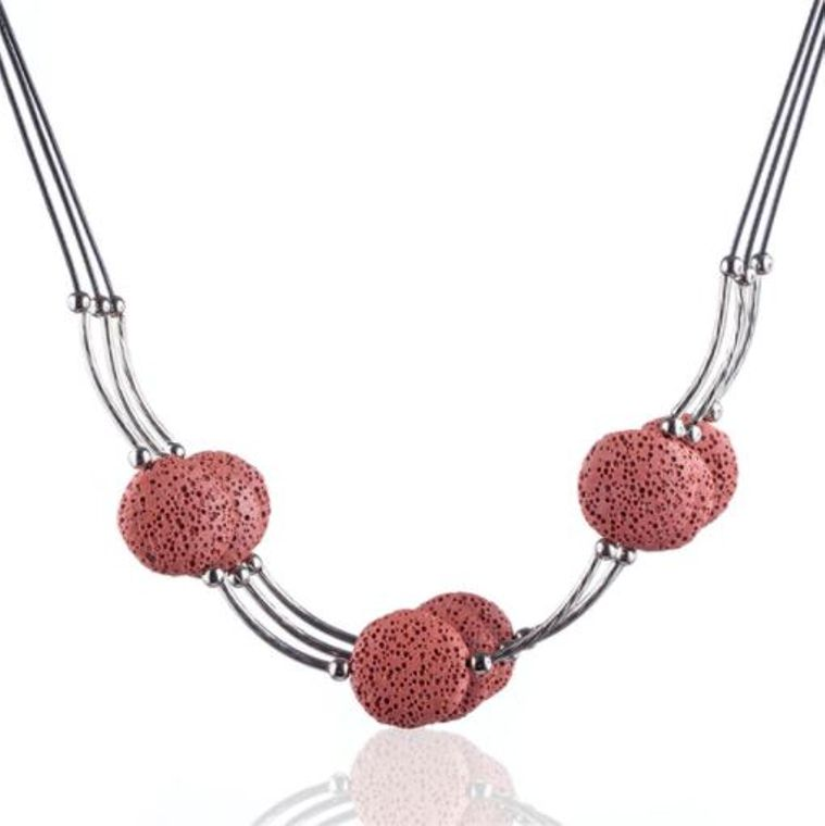 Red 6 Lava Stone Essential Oils Necklace