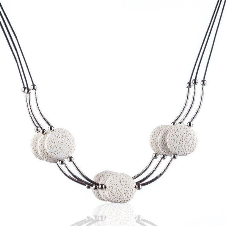 White 6 Lava Stone Essential Oils Necklace
