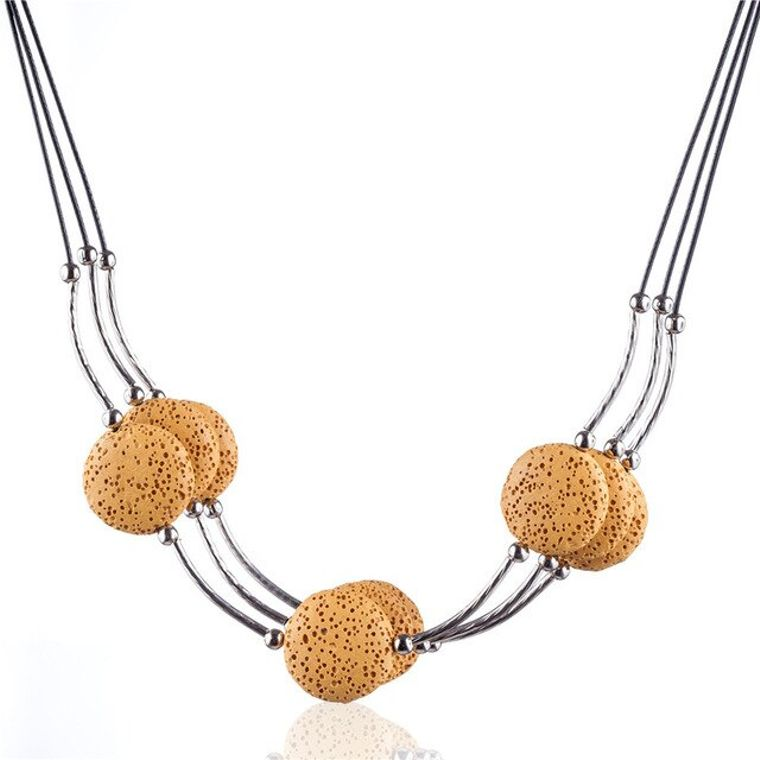 Yellow 6 Lava Stone Essential Oils Necklace