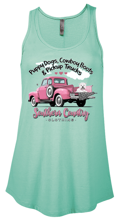 Puppy Dogs, Cowboy Boots & Pickup Trucks Ladies Tank Top