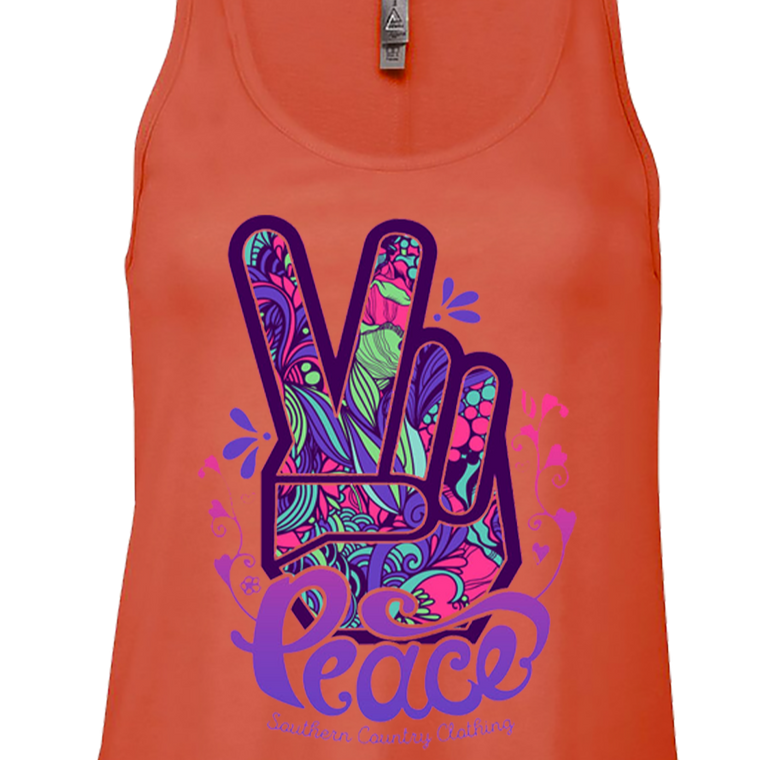 Peace Hand Sign Ladies Tank Top