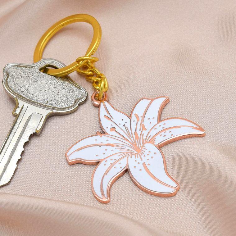 White Lily Flower Enamel Keychain