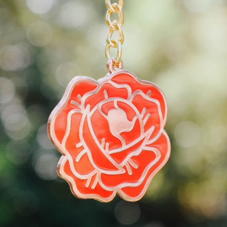 Red Rose Flower Bud Enamel Keychain