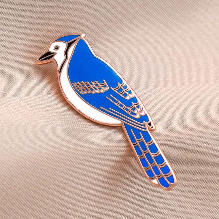 Blue Jay Bird Enamel Pin / Bird Hard Enamel Lapel Brooch Pin