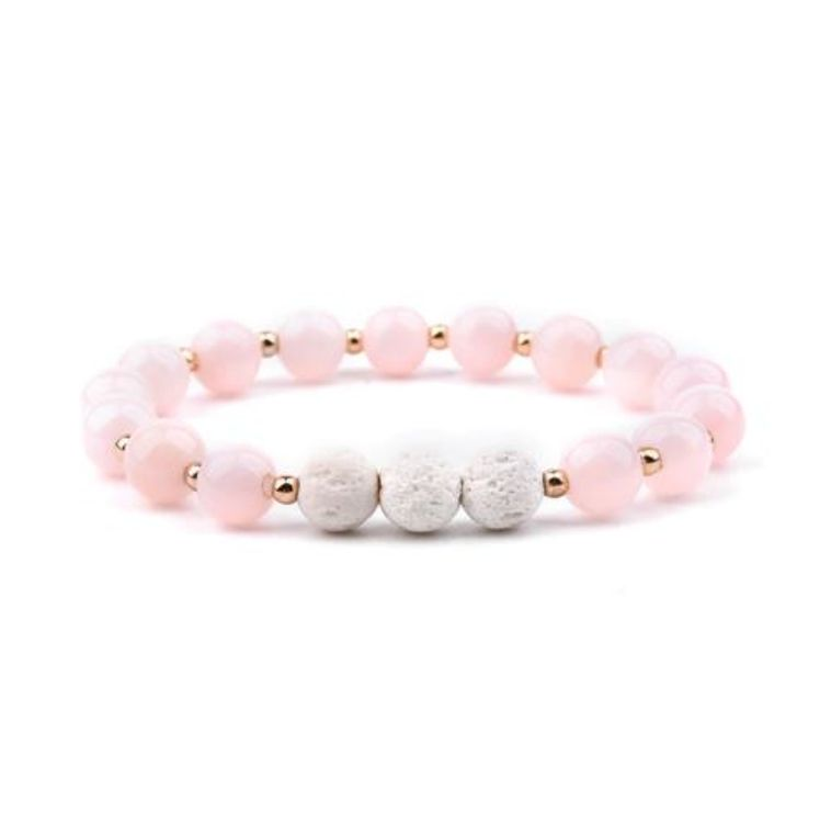 Lava Stone Essential Oil Bracelet - Pink and White 3
