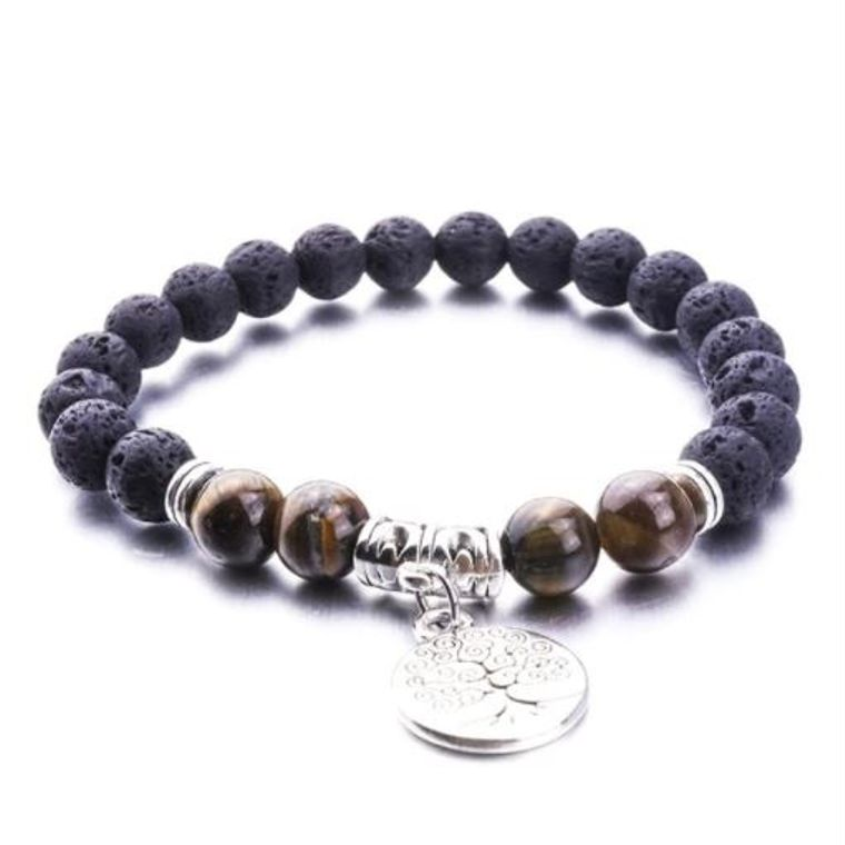 Brown Marble Tree of Life Lava Stone Bracelet