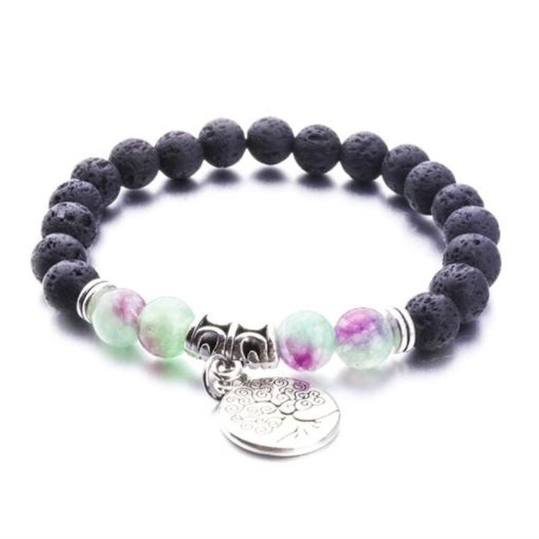 Purple Green Marble Tree of Life Lava Stone Bracelet
