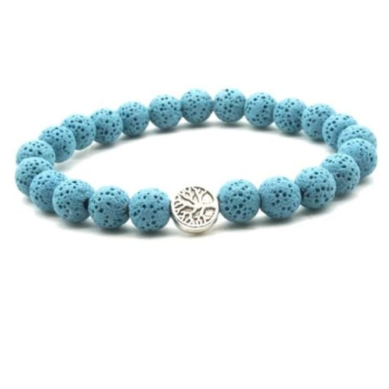 Light Blue Lava Stone Tree of Life Essential Oil Bracelet