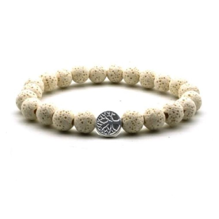 Beige Lava Stone Tree of Life Essential Oil Bracelet