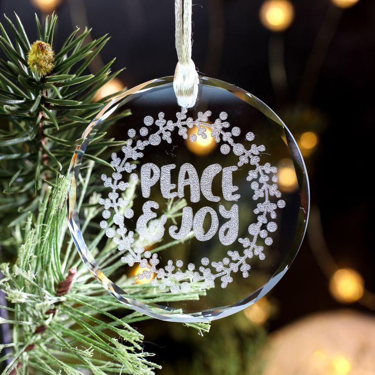 Crystal Glass Holiday Ornament, Christmas Tree Ornament, Peace & Joy,