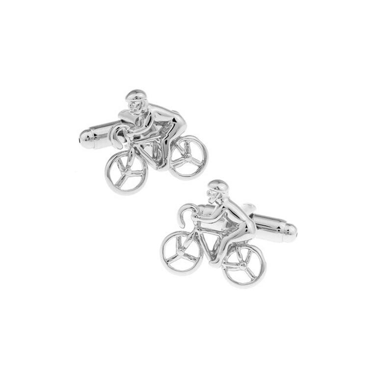 Silver Racing Bike Cufflinks
