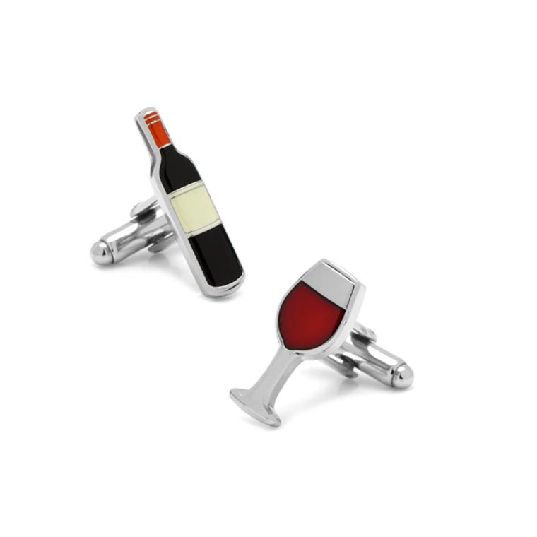 Wine Bottle & Glass Cufflinks