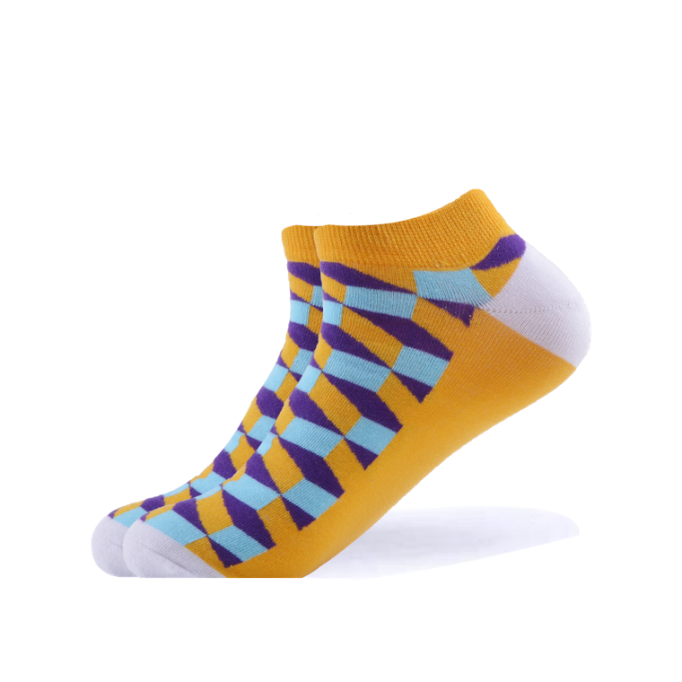 3D Squares Yellow Ankle Socks