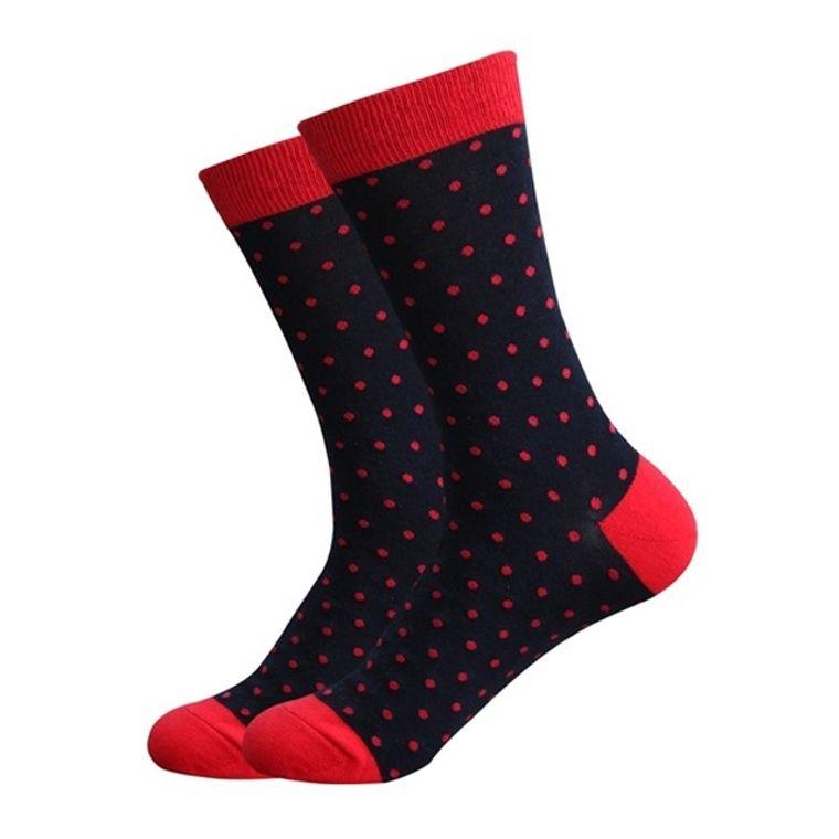 Black & Red Tips Polka Dot Socks
