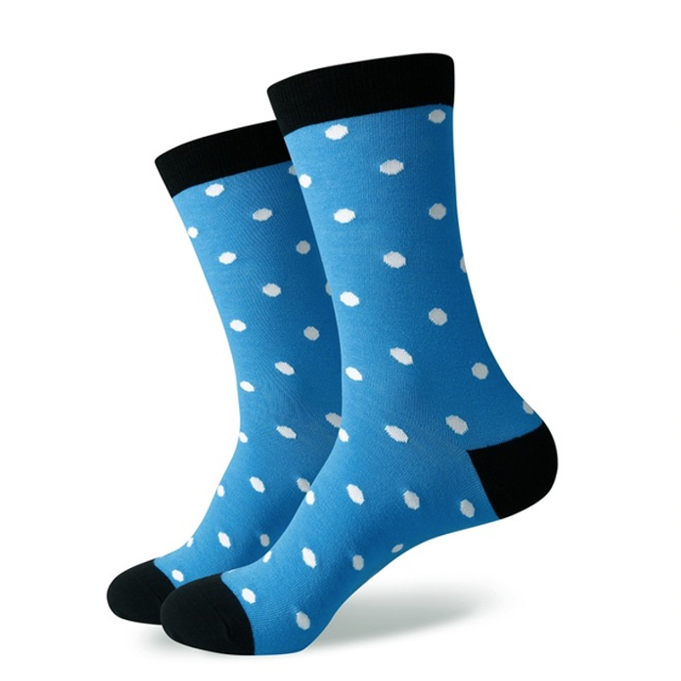 Blue & White Snowflakes Polka Dot Socks