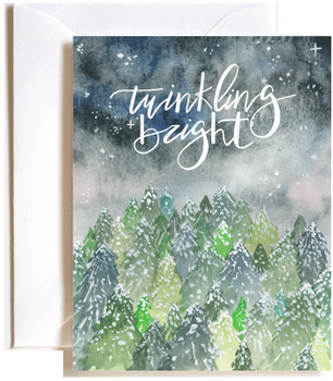 Twinkling and bright winter forest card