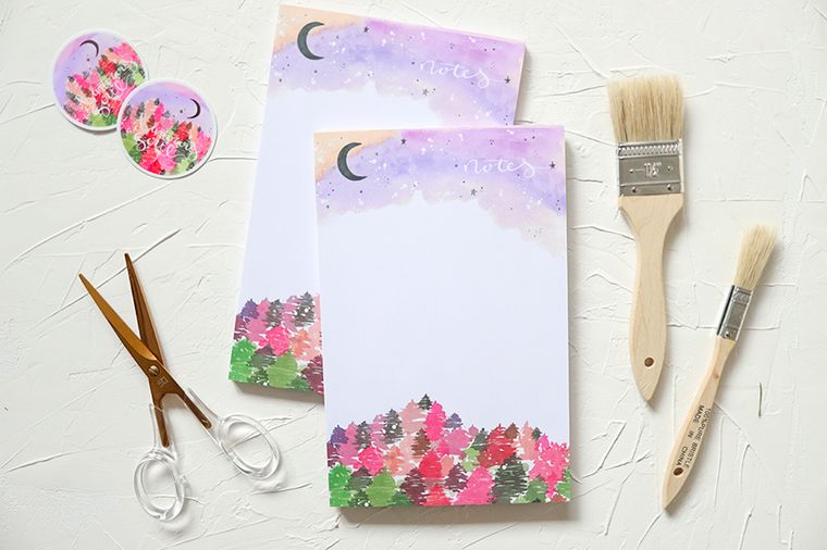 Bright Pink Forest Adventurous Notepad