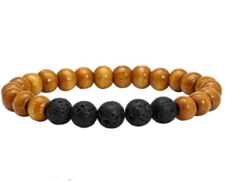 Lava Stone Essential Oil Bracelet - Wood Beads 5