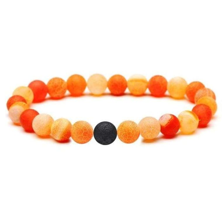 Neon Orange Lava Stone Bracelet