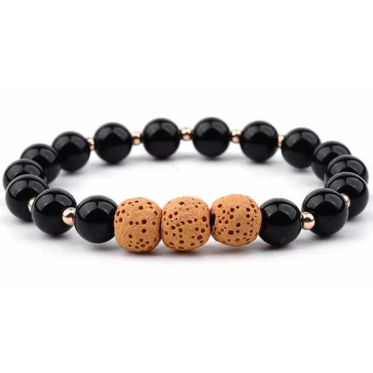 Lava Stone Bracelet - Black Yellow