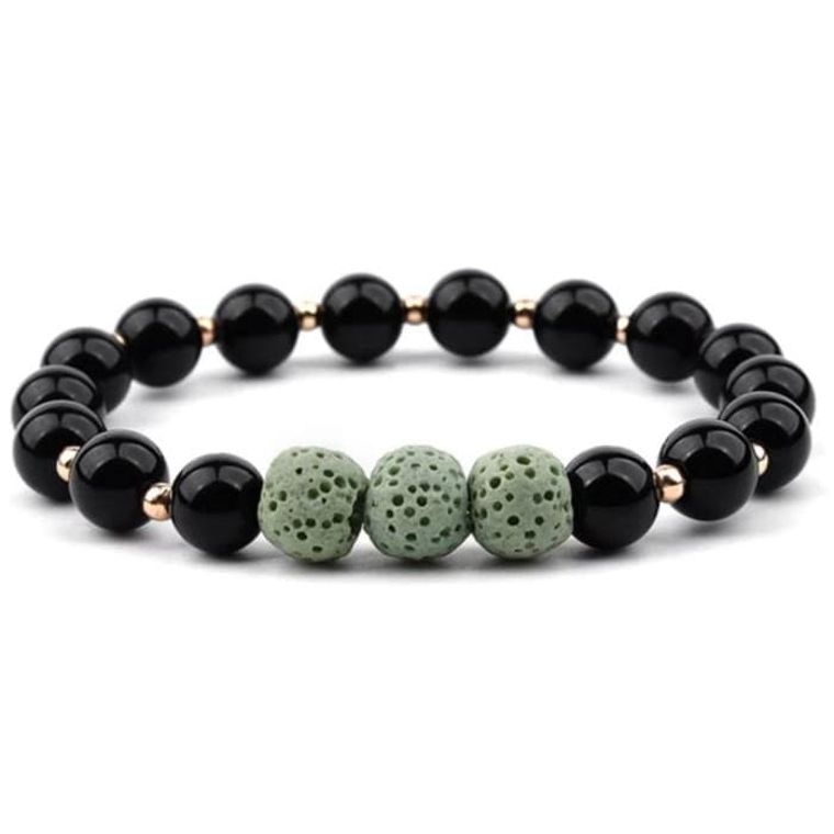 Lava Stone Bracelet - Black Light Green