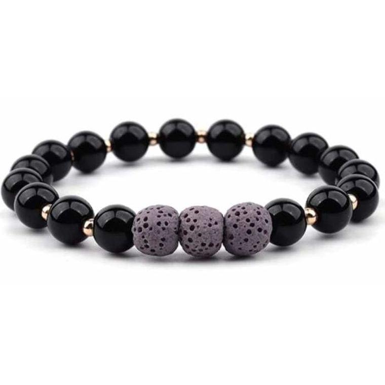 Lava Stone Bracelet - Black Purple
