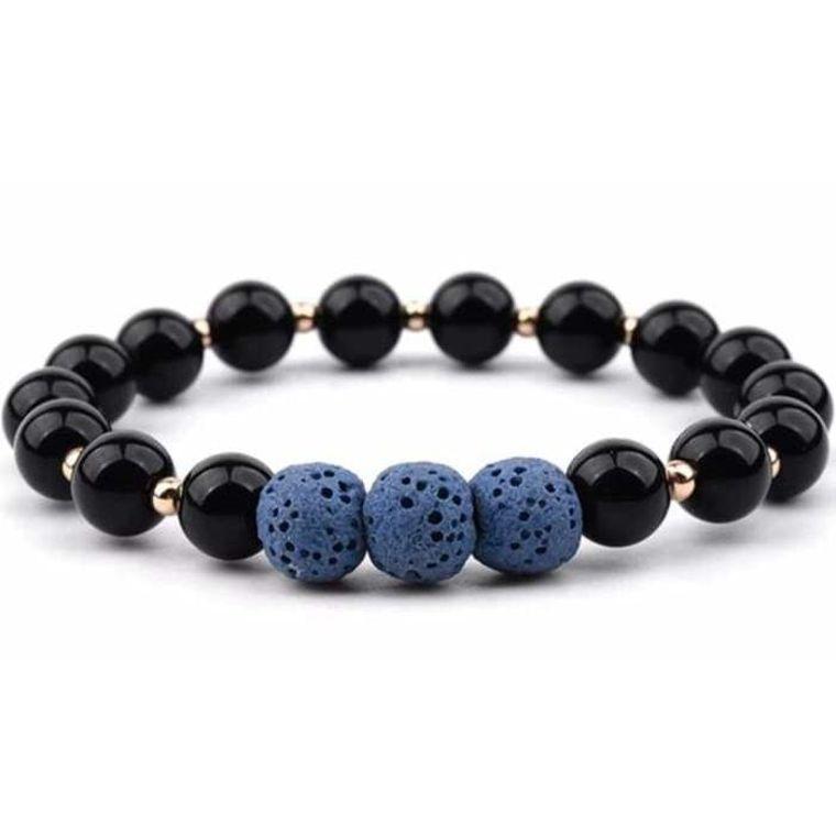 Lava Stone Bracelet - Black Dark Blue