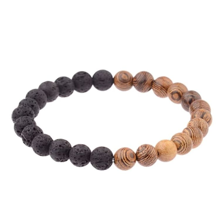 Lava Stone Essential Oil Bracelet - Wood Beads