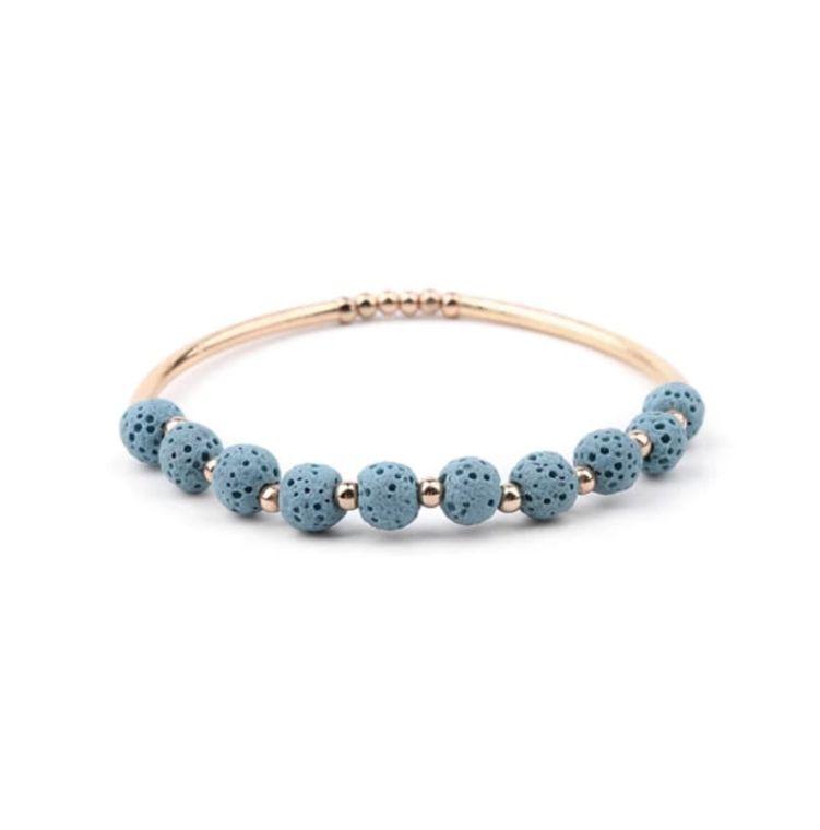 Lava Stone Essential Oil Bracelet - Light Blue Lava Stone and Gold