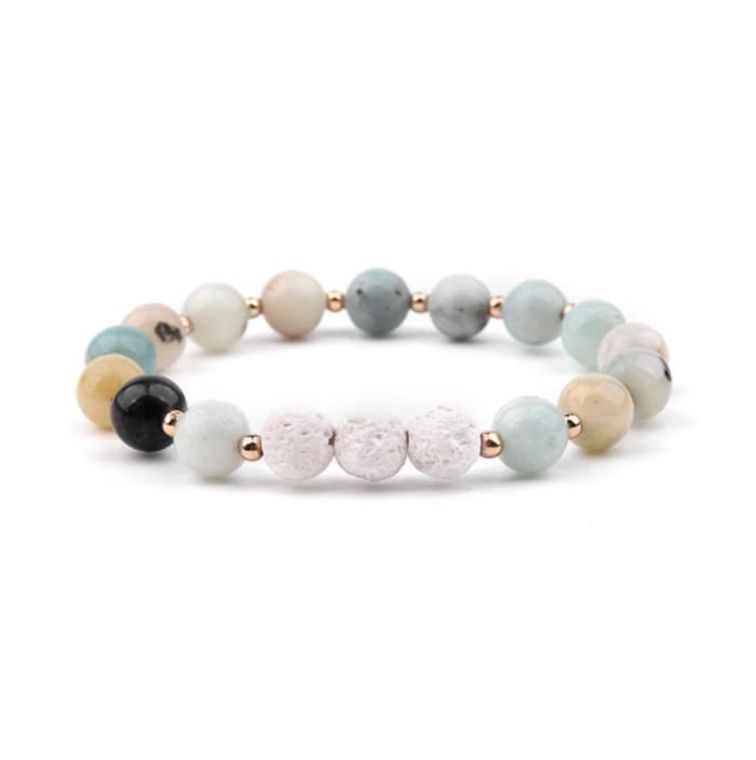 Lava Stone Essential Oil Bracelet - Amazonite and White 3