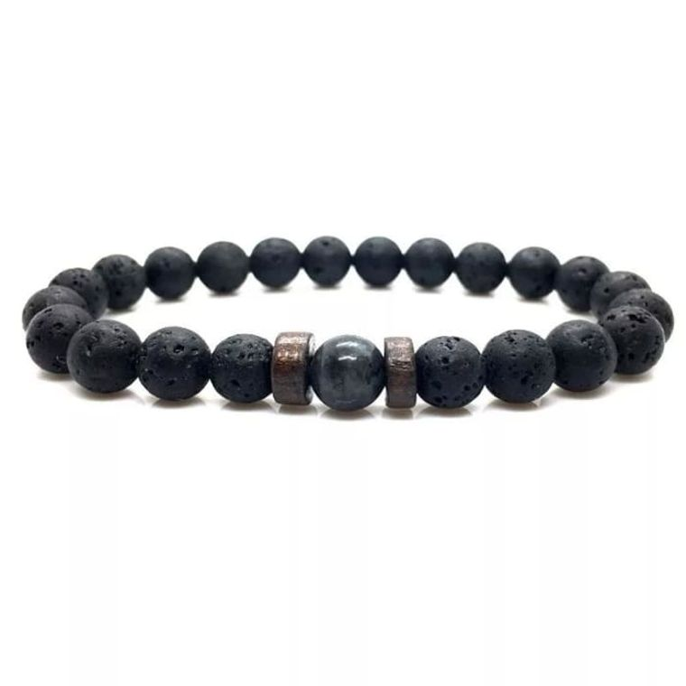 Wood and Lava Stone Essential Oil Bracelet - Gray 1