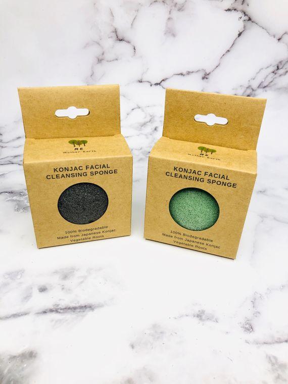 Konjac Sponge Biodegradable Green Tea with BOX | Eco Friendly Gift | Zero Waste, | Vegan