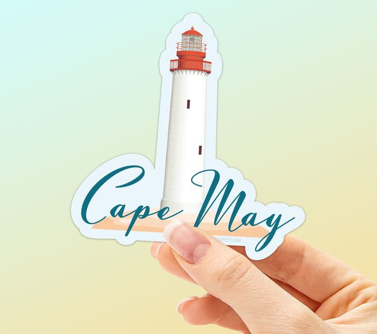 Cape May Jersey Shore Sticker with Cape May NJ Lighthouse