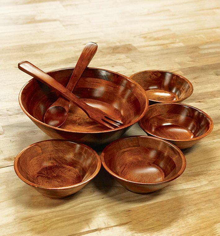 7 Piece Cherry Finish Wood Salad Bowl Set