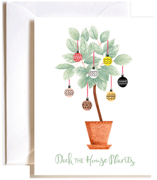 Deck the houseplants holiday card