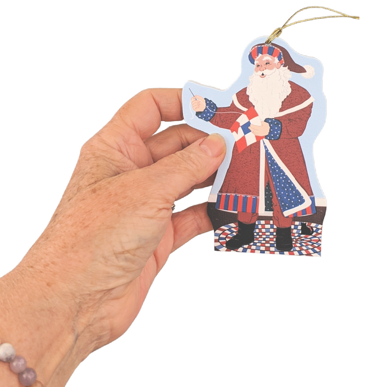 Red, White & Blue Santa 2020 Ornament