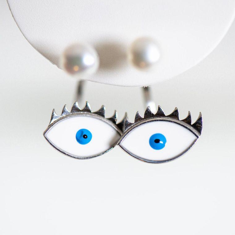 Pearl and Enamel Earrings