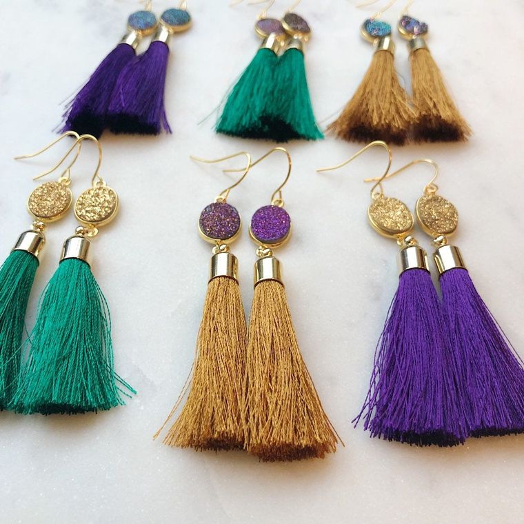 Mardi Gras Earrings, Mardi Gras Jewelry, Purple and Gold, Festival Earrings, Festival Jewelry Boho Earrings Tassel Earrings, Fringe Earrings