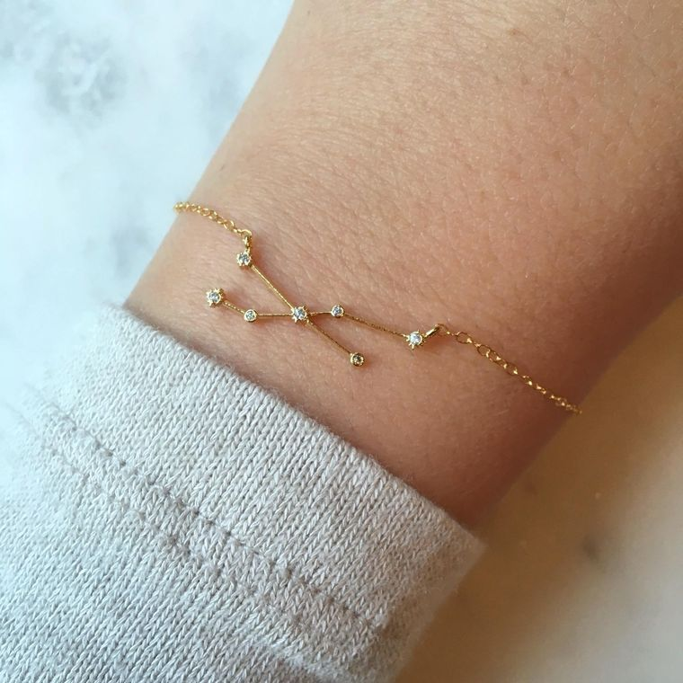 Personalized Jewelry Gift, Zodiac Jewelry, Gold Zodiac Bracelet, Zodiac Sign Bracelet, Constellation Bracelet, Celestial Wedding Party Gifts
