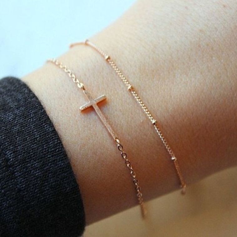 Dainty Bracelet Set, Rose Gold Sideways Cross, Sideway Cross, Dew Drop Bracelet, Dew Drops, Dew Drops Bracelet, Trending Now, Cross Bracelet
