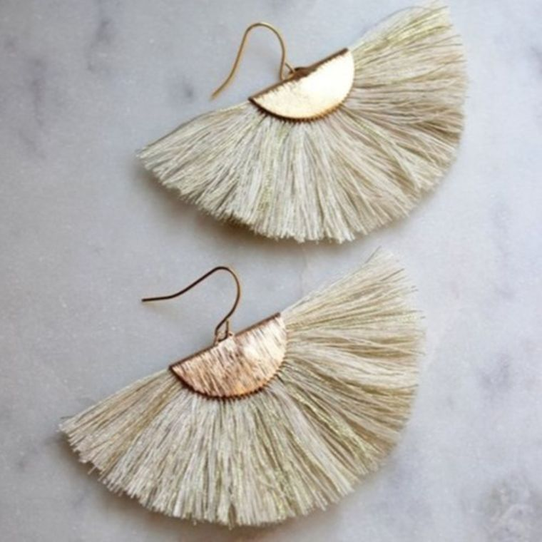 Cream Fan Fringe Earrings, White and Gold Fan Fringe Earrings, Gold Earrings, Large Fringe, Fan Tassel Earrings, Gold Statement Earrings